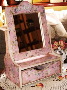 Vanity for bedroom Jewelry box with mirror  by HandmadeDecoupage, $66.00