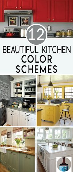 12 Color Schemes for your Kitchen Paint is a great way to update your kitchen cabinets, walls, and even countertops. Check out these 12 color schemes that bring out the best. Painted Kitchen Tables, Kitchen Chairs, Kitchen Furniture, Kitchen Decor, Furniture Ideas, Kitchen Ideas, Floors Kitchen, Furniture Buyers, Furniture Market