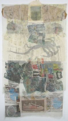 robertrauschenberg:    Robert Rauschenberg, Mule (Hoarfrost Editions), 1974. Offset lithographic and newspaper images transferred to a collage of fabric and paper bags.  See it in the Summer Selections exhibitionat George Krevsky Gallery (San Francisco).