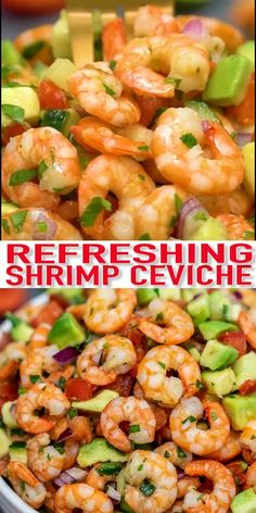 This shrimp ceviche recipe is such a refreshing and light appetizer that is perfect for any occasion! Ready in minutes and made with shrimp, limes, red onion, cucumber, cilantro, and avocado. #shrimp #shrimprecipes #ceviche #appetizer #30minutemeals Shrimp Appetizers, Shrimp Recipes, Appetizer Recipes, Beef Recipes, Dinner Recipes, Cooking Recipes, Grilled Burger Recipes, Best Burger Recipe, Shrimp Ceviche