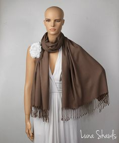 Mocha Brown Shawl; Wedding Shawl; Mocha Brown Pashmina by LunaShawls on Etsy