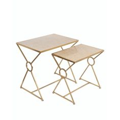 $150 Privilege Gold/ Off-white Marble Accent Tables (Set of 2)