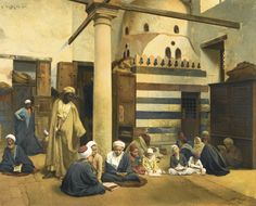 https://flic.kr/p/tconAa | Ludwig Deutsch - In the Madrasa [1890] | Among Ludwig Deutsch's most ambitious multi-figural compositions, and one of very few works in which children take centre-stage, this work presents an original and informal vignette of daily life in Cairo. With touching observation, Deutsch presents the figures in various forms of study, from the young boys intently concentrating on their texts, to the older pupils behind them being questioned by their teacher, to the young…
