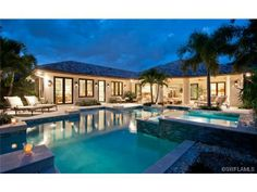 Pretty pool at night in Park Shore - Naples, Florida