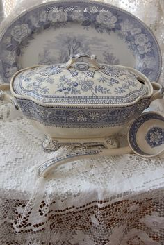 Aiken House & Gardens: Blue & White Transferware Tureen