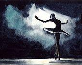 Black Swan Ballerina Performance Ballet Dancer - Giclee Print of Watercolor - Natalie Portman Odile Odette