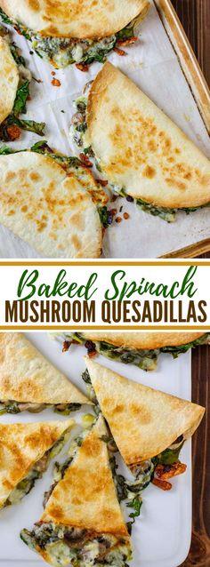 BAKED SPINACH MUSHROOM QUESADILLAS #vegetarian #quesadillarecipes #veggies #spinachrecipes #mushrooms