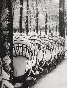 Brassai: Chairs in the Luxembourg Gardens in Winter, Paris, 1953 Black White Photos, Black And White Photography, Paris Winter, Paris Snow, Brassai, Luxembourg Gardens, Alfred Stieglitz, I Love Paris, French Photographers