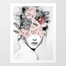 Art Print featuring WOMAN WITH FLOWERS 10 by Dada22