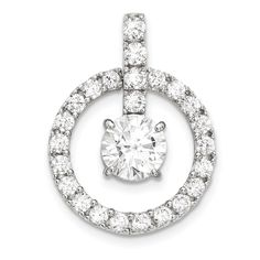 10K Tiara Collection White Gold Polished CZ Pendant 10YC380W