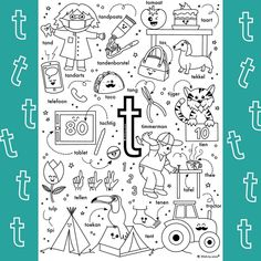 Letter School, Teaching Letters, Letter T, Spelling, Coloring Pages, Alphabet, Doodles, Diagram, Activities
