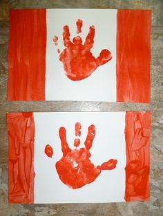 Exploring Countries and Cultures - Canada : handprint flag for Canada Day My Father's World, We Are The World, Summer Crafts, Holiday Crafts, Canada Day Crafts, Art For Kids, Crafts For Kids, Kid Art, Toddler Crafts