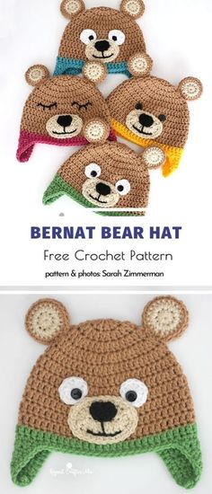 Funny winter hats for babies- Bernat bear hat free crochet pattern -. - Funny winter hats for babies- Bernat bear hat free crochet pattern – knithat. Crochet Pattern Free, Knitting Patterns Free, Crochet Patterns, Crochet Baby Hats, Baby Knitting, Crochet Hooks, Crochet Animal Hats, Crochet Teddy, Crocheted Hats