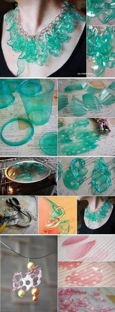 Another version of making jewelry from plastic throw-aways! 15 Creative Recycling DIY Plastic Projects