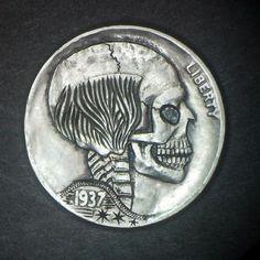 1937D-Hobo-Nickel-Bald-Skull-Hand-carved-by-Jay-L-DeBoer-OOAK-OHNS