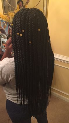 Medium box braids with gold cuffs✨||To see more follow @Kiki&Slim