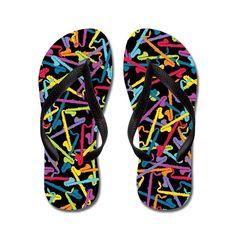 f0d7302c01bf7 CafePress colorful Bass Clarinet Flip Flops (Black) - Flip Flops, Funny  Thong Sandals