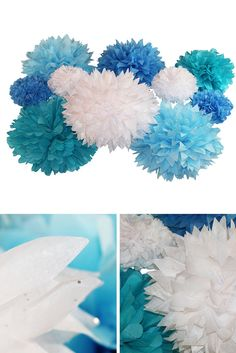 Bring your Frozen party to new heights with tissue paper pom poms combining shivering shades of blue and turquoise with an icy twist: glittery white diamond poms.