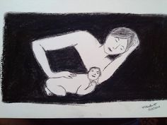 Charcoal painting - Mom n Baby