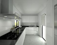 Modelo Line L Blanco Seda | Encimera Granito Negro