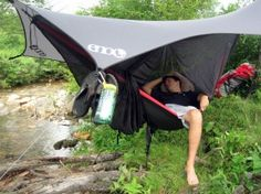 Eagles Nest Outfitters - Doublenest Hammock & ProFly - All black with white/silver ENO Logo