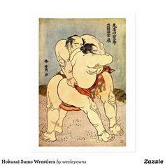 Carte Postale Lutteurs de sumo de Hokusai