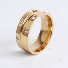 Find More Rings Information about 8mm golden groove 6 rhinestone 316l Stainless Steel finger rings for women men wholesale,High Quality steel standard,China ring gel Suppliers, Cheap steel ring binder from Chinese Jewelry Factory,Wholesale From Yiwu China on Aliexpress.com