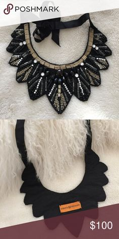 ✨Gorgeous✨Roberta Freymann Bib Necklace Authentic Gorgeous Roberta Freymann Bib Necklace. Adorned w/Beads in Black, White, Gray, Gold & Clear. Black Grosgrain Ribbon. Very Art Deco. Bib Style Most Recently Made Popular by Olivia Palermo. Originally Purchased at the Roberta Freymann Boutique on Lexington Ave in NYC. Adjustable Length. Overall Good Condition, Except Note: Missing Stones (See Pic 3 - 3 Square Stones, Pic 4 - 1 Circle Stone). Price Reflects Imperfection. Add a Bold Statement to…