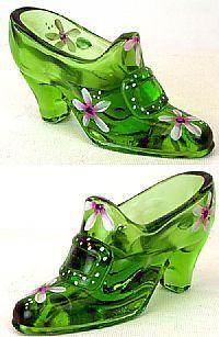 FENTON Glass Vaseline BUCKLE SLIPPER Shoe Figurine KEY LIME GREEN 7737U3 FLOWERS | eBay