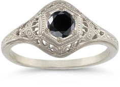 applesofgold.com - Enchanted Black Diamond Ring in .925 Sterling Silver $215.00