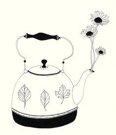 Love the 'child-like' treatment of this illustration. The use of uncontrolled lines and nature of the strokes are refreshing on the eye. Also love how the plants, leaves and petals are there but there not the main object in the design. There decorative items on a kitchen appliance- what im wanting to re-create and capture.