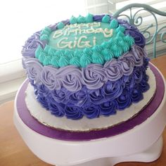 Purple and teal rosette