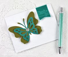 Butterfly Thank You Card by Dawn McVey for Papertrey Ink (June 2014)