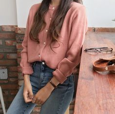Twin Fashion -Korean Twin Fashion - Shoulder Loose Fit Knit Top A practical investment for your casual wardrobe, this solid-toned knit top is versat… Mode Outfits, Trendy Outfits, Girl Outfits, Fashion Outfits, Fashion Trends, Fashion Tag, Harajuku Fashion, Casual Korean Outfits, Fashion Styles
