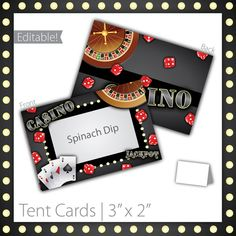 "Casino Party Tent Cards : Blank . PRINTABLE . INSTANT DOWNLOAD . Casino Night ~ $6.00 ~ Size: 3""w x 2""h ~ casino tent cards, printable casino tent cards, printable tent cards, casino tent sign, casino party sign, casino party signage, casino theme, casino food labels, casino food signs, black casino, casino name tent cards, classy casino, fancy casino, modern casino tent cards, birthday tent cards ~ #CasinoBirthday #CasinoParty #CasinoTentCards https://www.etsy.com/listing/96532960"
