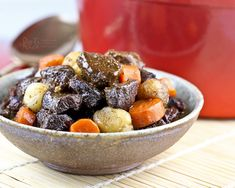 A slight Asian twist to this hearty Beef Stew with Pearl Onions and Carrots. Delicious with a bowl of steamed rice or crusty bread.