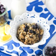This Blueberry Baked Oatmeal with Lemon and Ginger is always a huge hit! Perfect for special breakfasts and busy weeknights alike!