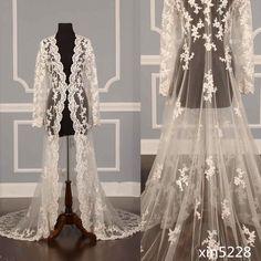 Fall Winter White Ivory Lace Cape Cloak Shawl Wedding Jacket Bridal Wrap Train #CloaksCapes