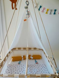 This is our Hussh hanging cradle for our twin nursery. Hanging Bassinet, Hanging Cradle, Hanging Chair, Twin Baby Girls, Twin Babies, Cradles And Bassinets, Nursery Twins, Comfort Mattress, Girls Bedroom