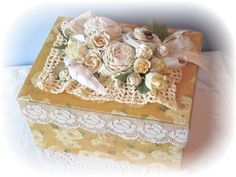 Shop for wallpaper on Etsy, the place to express your creativity through the buying and selling of handmade and vintage goods. Paper Lace, Gold Box, Love Rose, Vintage Paper, Repurposed, Decorative Boxes, Shabby Chic, My Etsy Shop, Roses