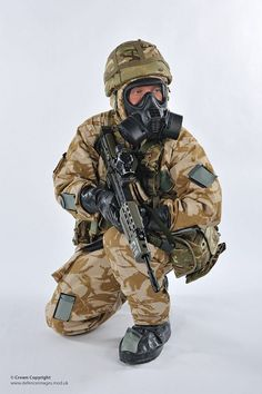A soldier wearing the General Service Respirator (GSR) at the Defence CBRN Centre, Winterbourne Gunner in Wiltshire.
