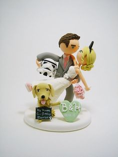 Star wars and Disney theme with dog  custom wedding cake topper