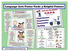 """FREE LANGUAGE ARTS LESSON - """"Language Arts Poster Pack: 4 Helpful Posters"""" -  Go to The Best of Teacher Entrepreneurs for this and hundreds of free lessons.  1st - 5th Grade  #FreeLesson  #LanguageArts  http://www.thebestofteacherentrepreneurs.net/2014/09/free-language-arts-lesson-language-arts.html"""