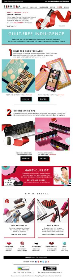 Sephora email campaign. Love the buttons and icons (shadow treatment).