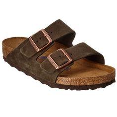 Birkenstock Birkenstock Arizona Soft Footbed Suede Sandal (403335601) ($130) ❤ liked on Polyvore featuring shoes, sandals, brown, birkenstock sandals, brown shoes, suede shoes, birkenstock footwear and rubber sole shoes