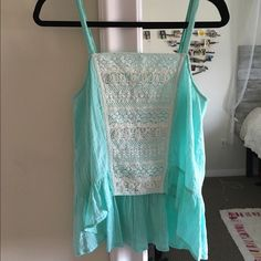 Flowy tank top Turquoise anthropologie Flowy tank top with crochet front and longer in the back Anthropologie Tops Tank Tops