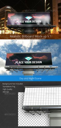 Realistic Billboard Mock-up V.1  #GraphicRiver         Realistic Billboard Mockup A professional displayer of billboards, you can easily change design via SmartObject image. Autometiclly change both scene' Good for websites, products, presentations and more… Less than a minute to create a professional billboard display!                     Created: 12 December 13                    Graphics Files Included:   Photoshop PSD                   High Resolution:   Yes                   Layered…