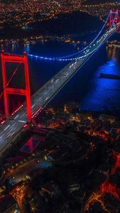 The Bosphorus Bridge by night, Istanbul, Turkey Istanbul City, Istanbul Travel, Wonderful Places, Beautiful Places, Places To Travel, Places To Visit, Bosphorus Bridge, Visit Turkey, Turkey Travel