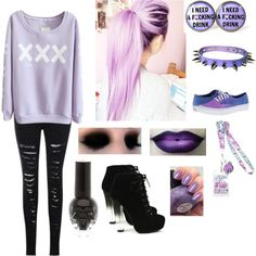 Image result for pastel goth outfits polyvore