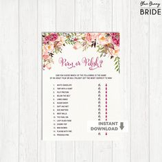 Floral PORN or POLISH Bridal Shower Game.  Garden Wedding Shower. Boho Bachelorette Party Hens Night. Rustic Flowers. High Tea Party